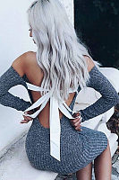 Open Shoulder  Backless Bow  Patchwork Bodycon Dresses