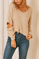 Khaki Fashion V-Neck Zip Sleeves Jumper