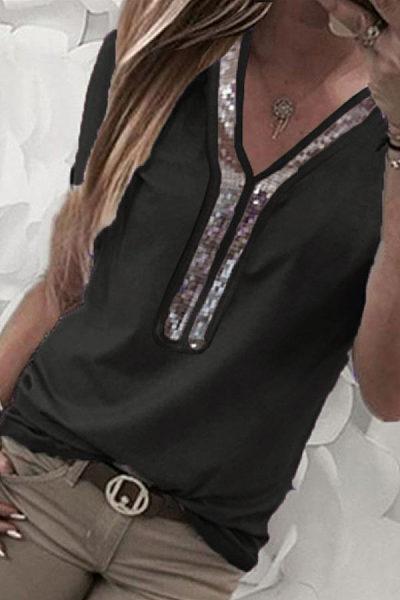 V Neck  Glitter  Plain T-Shirts