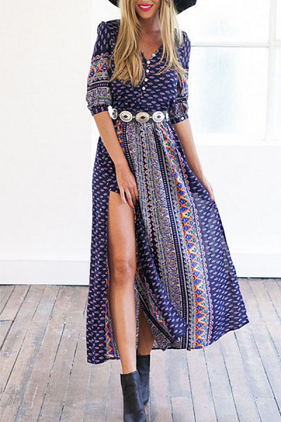 Deep V Neck Single Breasted Printed Maxi Dresses