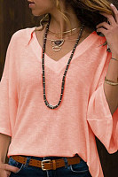 Deep V Neck Bell Sleeve T-Shirts
