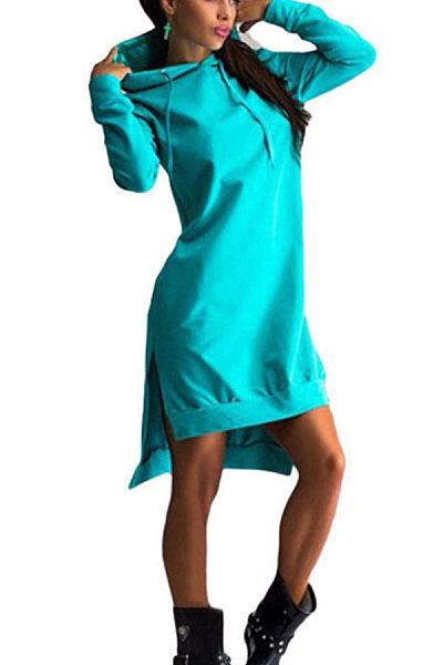 Hooded  Asymmetric Hem Drawstring  Plain Casual Dresses