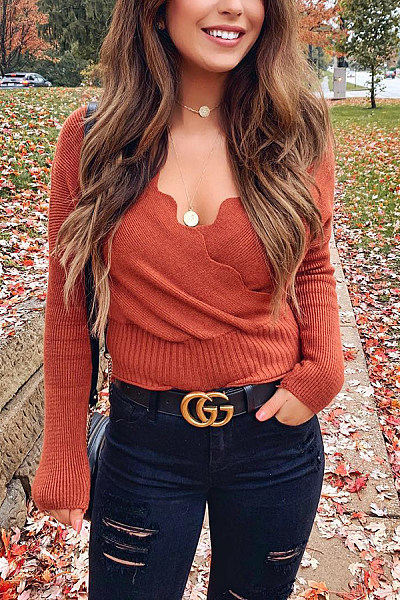 Casual V Neck Elastic Plain Sweater