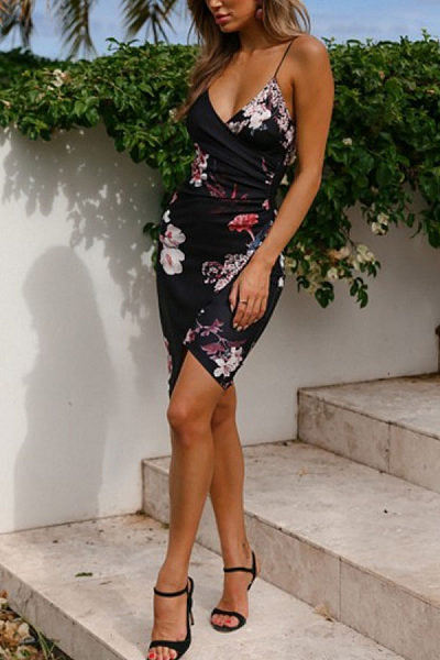 Spaghetti Strap  Asymmetric Hem  Floral Printed  Sleeveless Bodycon Dresses