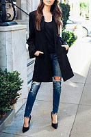 Round Neck  Slit Pocket Snap Front  Plain  Bell Sleeve Coats