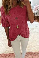 Round Neck  Flounce  Plain T-Shirts