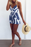 Sexy V-Neck Halter Print Loose Seaside Holiday Jumpsuit