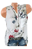 Band Collar  Loose Fitting  Floral Printed Blouses