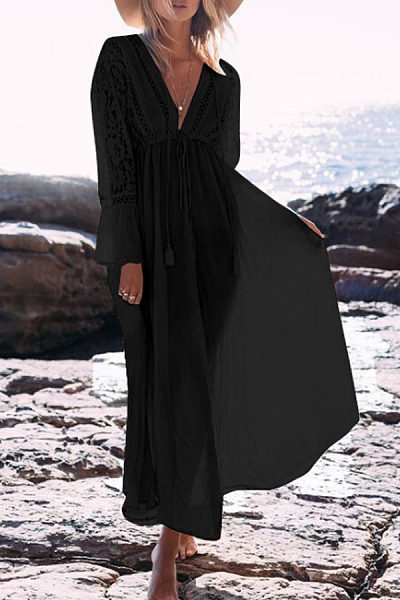 Deep V Neck  Plain  Long Sleeve Maxi Dresses