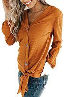 V Neck  Single Breasted  Plain T-Shirts