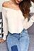 Off Shoulder  Asymmetric Hem  Exposed Navel  Plain T-Shirts