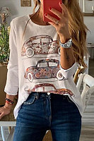 Casual Round Neck Car Print Long Sleeve T-Shirt