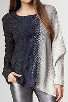 Square Neck  Asymmetric Hem  Patchwork Sweaters