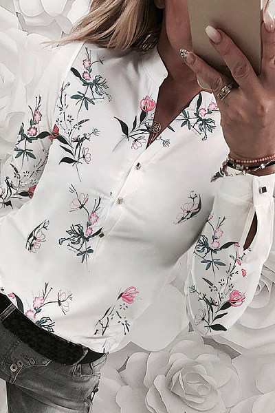 Casual V-Neck Button Long Sleeve Floral Print Shirt