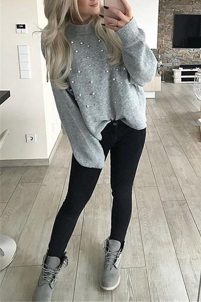 Classy Nail Bead Round Neck Plain Sweater