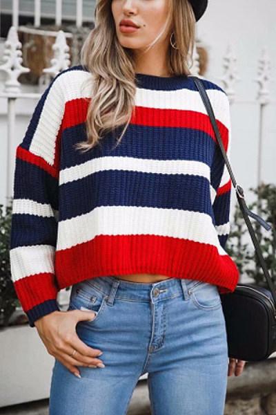 Striped  Long Sleeve Sweaters