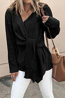 V Neck  Asymmetric Hem  Belt Loops  Plain Sweaters