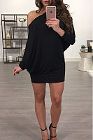 One Shoulder  Plain  Batwing Sleeve Bodycon Dresses
