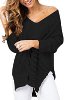 V Neck  Slit  Plain Sweaters