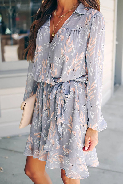 Daily Casual Deep V Neck Long Sleeve Printed Dress