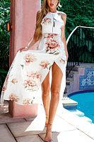 Halter  Backless High Slit  Floral Printed  Sleeveless Maxi Dresses