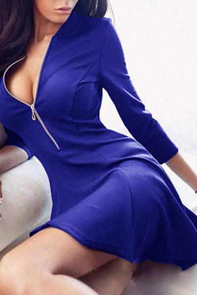Deep V Neck  Zipper  Plain  Long Sleeve Skater Dresses