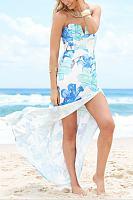 V Neck High Slit Printed Maxi Dresses