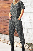 Casual Camouflage Short Sleeve Jumpsuits
