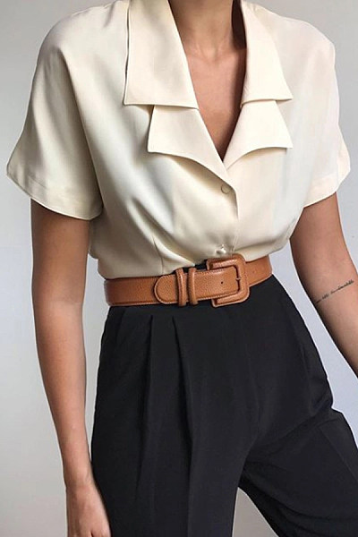 Brief Pure Color Lapel Short Sleeve Shirt