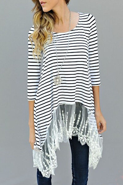 Round Neck  Asymmetric Hem  Patchwork Striped T-Shirts