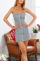 Spaghetti Strap  Decorative Buttons  Gingham  Sleeveless Bodycon Dresses