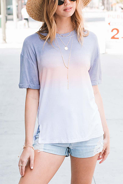 Casual Round Collar Gradient T-Shirt