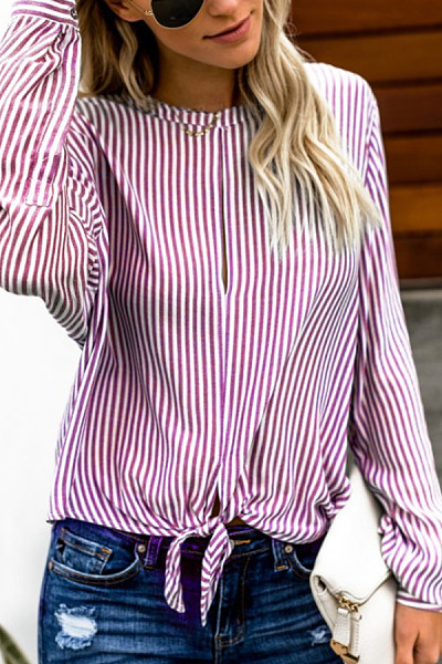 Crew Neck  Asymmetric Hem  Belt Loops  Striped  Blouses