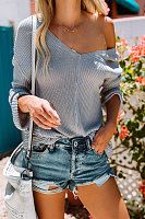 V Neck  Asymmetric Hem  Plain Sweaters