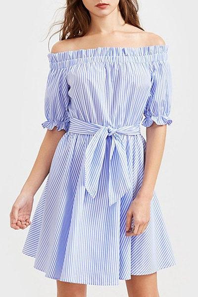 Strapless  Backless  Belt  Vertical Striped  Short Sleeve Skater Dresses