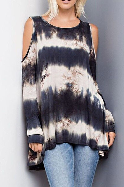 Round Neck  Loose Fitting  Gradient T-Shirts