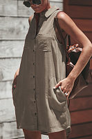Turn Down Collar  Asymmetric Hem Single Breasted  Plain  Sleeveless Casual Dresses