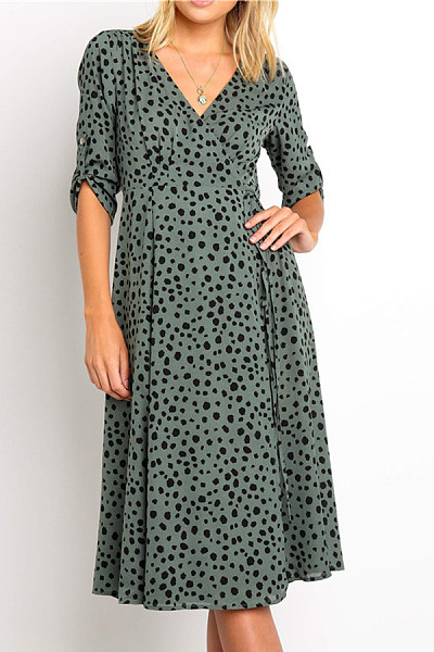 Fashion Casual Polka Dot V-Neck Half Sleeves Maxi Dress