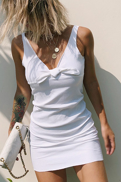 Spaghetti Strap  Backless Bowknot  Plain  Sleeveless Bodycon Dresses