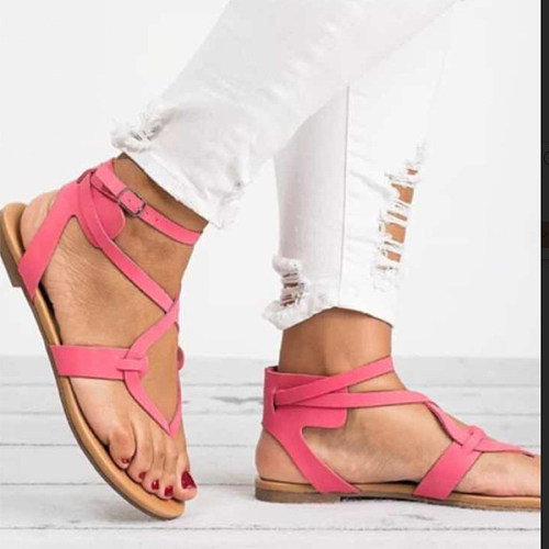 c934326c74d93 Plain Flat Ankle Strap Peep Toe Casual Sandals - cicilookshop.com
