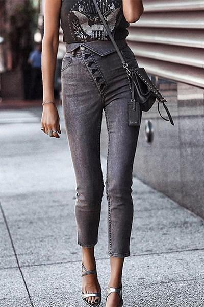 High Waist Button Jeans