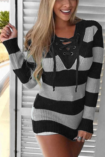 V Neck  Drawstring  Striped Sweaters