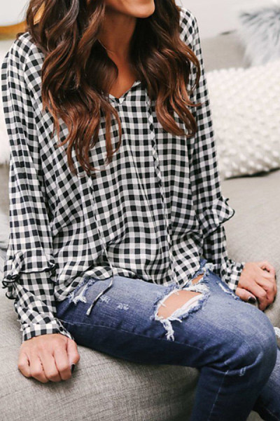 Casual V-Neck Tie With Plaid Ruffled Long-Sleeved Shirt