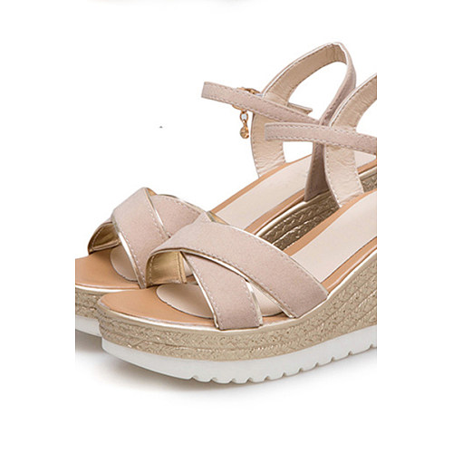 17fbdab6f929 Plain High Heeled Velvet Ankle Strap Peep Toe Casual Date Wedge Sandals