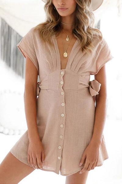 Deep V Neck  Single Breasted  Plain  Short Sleeve Casual Dresses