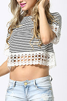 Crew Neck  Exposed Navel  Striped T-Shirts