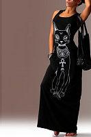 Round Neck  Printed  Sleeveless Maxi Dresses
