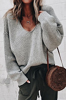 V Neck Long Sleeve Plain Knitting Sweaters