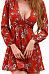 Surplice  Belt  Floral Printed  Long Sleeve Casual Dresses