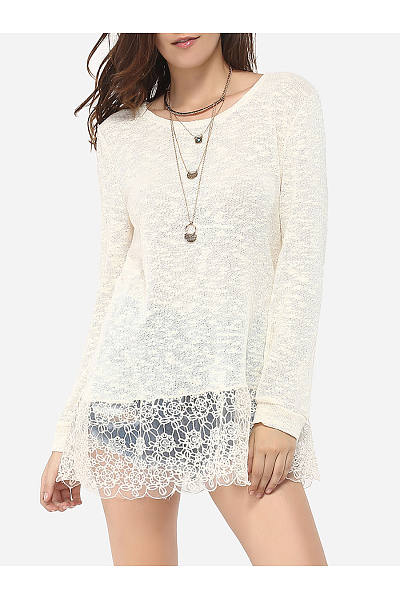 Round Neck Dacron Floral Printed Lace Patchwork Plain Long-Sleeve-T-Shirt